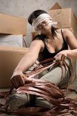 Kvinna release repet — Stockfoto