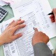 Stock Photo: Guiding to fill tax form