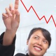 Young Asian businesswoman pointing her index finger to growth gr — Stock Photo