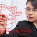 Asian businesswoman writing on glass board — Stock Photo