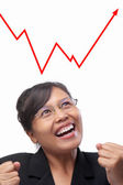 Young Asian businesswoman joyfully see the rise graph — Stock Photo