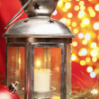 Christmas candle with blurred light — Foto de Stock