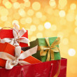 Bag full of Christmas present — Stock Photo