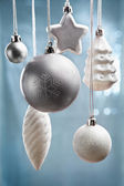 Bluish Christmas ornaments — Stock Photo