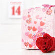 Flower and gift on Valentine - Stock Photo