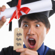 Surprised scholar in expensive education — Stockfoto