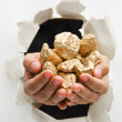 Hand breakthrough wall holding lumps of golden nuggets - Stock Photo