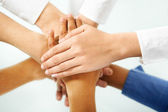 Diverse hand in unity — Stock Photo