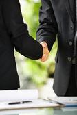Two businessman handshake — Stock Photo