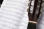 Classic guitar and music chords — Stock Photo