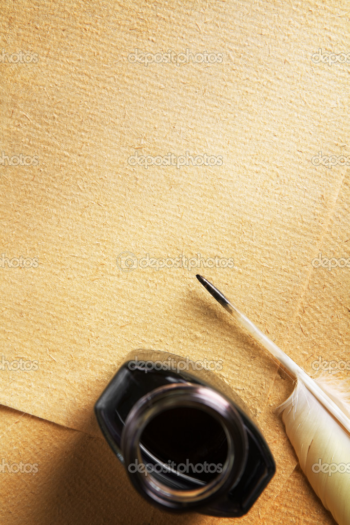 Old blank paper and quill pen — Stock Photo © OtnaYdur ...
