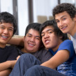 Playful behaviour of male students - Stockfoto