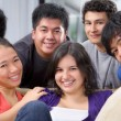 Multi ethnic students pose together — Foto Stock