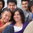 Multi ethnic students pose together — Foto de Stock