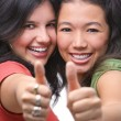 Satisfied young female teenagers — Stock Photo