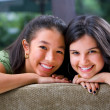 Female teenager sharing time with her friend — Stok fotoğraf
