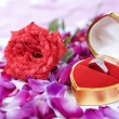 Ring and rose for valentine — Stockfoto