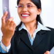 Businesswoman communicates using video call - Stock Photo