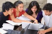 Studiegruppen multi etniska studenter — Stockfoto