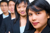Zoomed portrait of young Asian freshmen lineup — Stock Photo