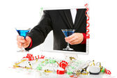 Offering blue martini from the computer's screen — Stock Photo