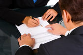 Showing where to sign — Stock Photo