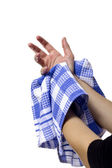 Woman Wiping Her Wet Hand — Stock Photo