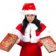 Stock Photo: Sad Santa Claus with opened gift box