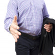 Business man with hand open for a handshake — Stock Photo