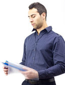 Closeup of business man reading contract — Stock Photo