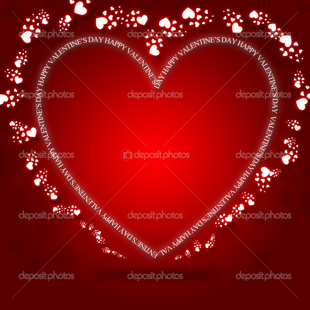 Happy valentines day greeting card with space for your own text.Hearts on background.  Stock Photo #11741929