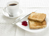 Breakfast with toast,raspberry marmalade and coffee — Stock Photo