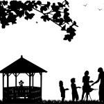 churrasco com a família e piquenique no jardim — Vetorial Stock