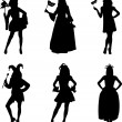 Collection of girls in different carnival costumes — Stock Vector