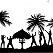 Dancers, girls and boys on the beach at sunset enjoying a holiday cocktail party silhouette — Stock Vector