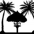 Cocktail drink fruit juice on the beach under the parasol between the palms silhouette — Stock Vector