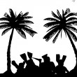 Family on vacations on seacoast between the palms with fins on the beach silhouette — Stock Vector