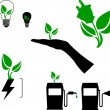 Symbols of green energy, fuel and technology silhouette — Stock Vector