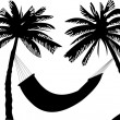 Stock Vector: Silhouette of hammock under the palm trees