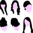 Set of long hairstyles for womsilhouette — Stock Vector #10747743