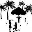 Romantic proposal on seacoast between the palms on the beach — Stock Vector