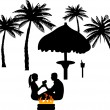 Romantic couple on the beach — Stock Vector