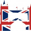 Tower bridge London as British flag — Stock Vector