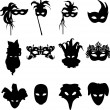 Collection of carnival Venetian masks background silhouette — Stock Vector