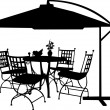 Garden furniture with bowl of fruit, bouquet snowdrops in vase and parasol silhouette — Imagen vectorial