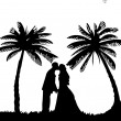 Wedding couple, groom and bride on seacoast between the palms on the beach silhouette - Stock Vector
