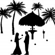 Stock Vector: Wedding couple, groom and bride on seacoast between the palms on the beach silhouette