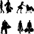 Couple, man and woman in a shopping mall with shopping bags in different poses silhouette — Stock Vector #10748431
