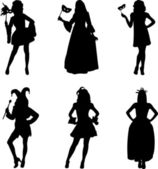 Collection of girls in different carnival costumes — Vector de stock