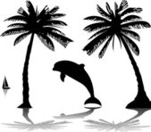 Silhouette of the dolphin jumping through a wave on island between the palms — Stock Vector